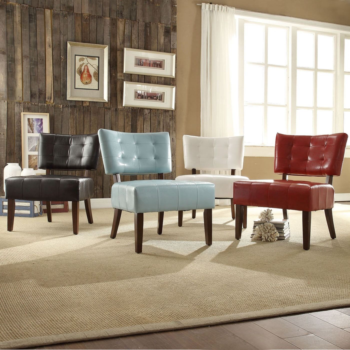 Charlotte Faux Leather Armless Accent Chair by TRIBECCA HOME by