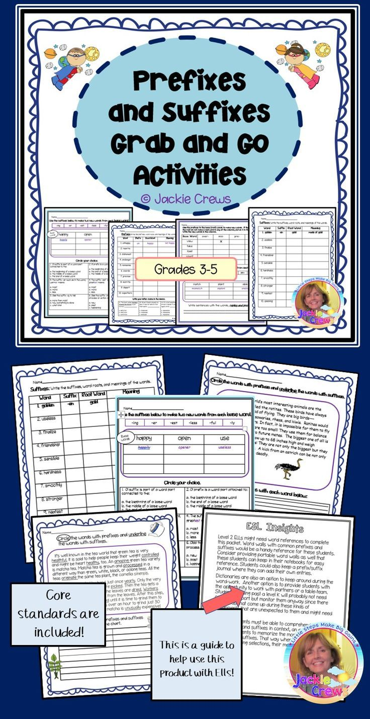 Prefixes and Suffixes Grab and Go Activities | After ...