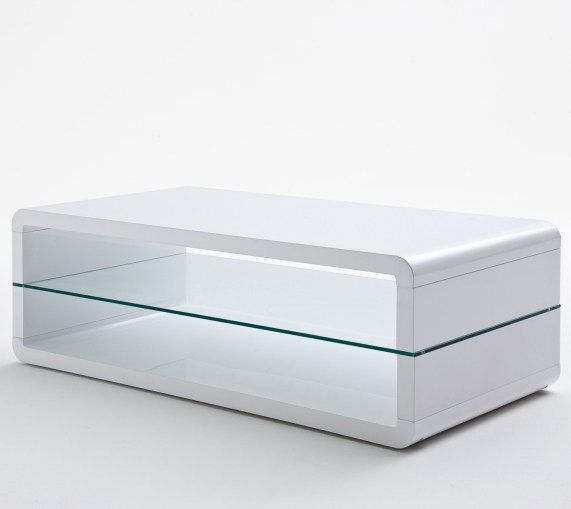 Agatha High Gloss White Coffee Table With Glass Shelf