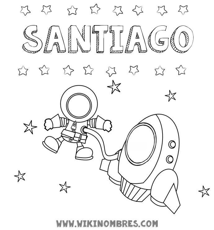 Dibujo con el nombre Santiago para colorear, pintar e imprimir ...