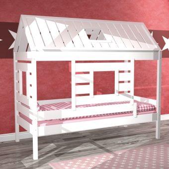 Ideal Spielbett KIDS HOME Kinderbett Haus Massivholz weiss umbaubar xcm