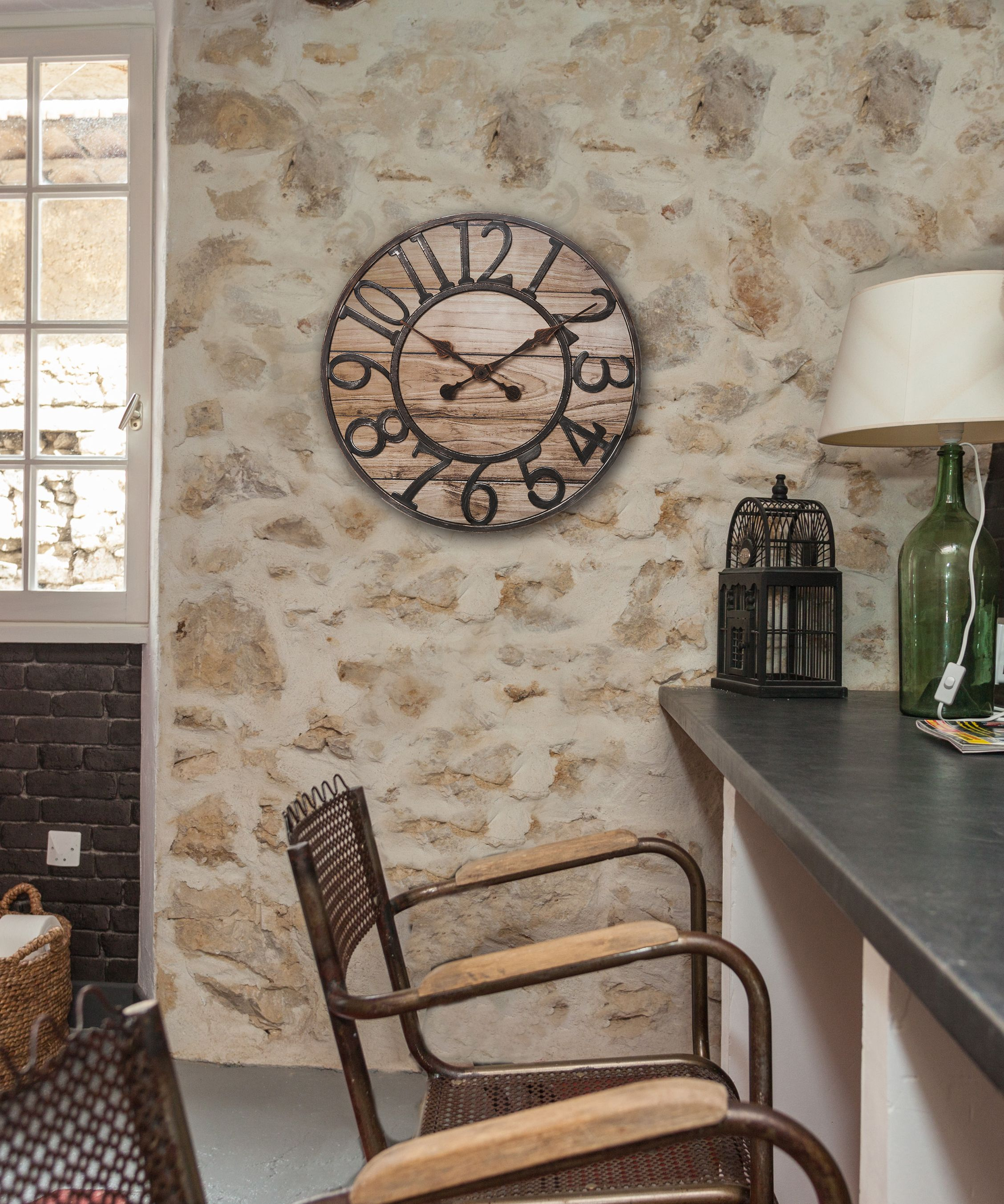 The chaney 195 inch rustic wood mdf wall clock features an the chaney 195 inch rustic wood mdf wall clock features an antiqued timeless look amipublicfo Image collections