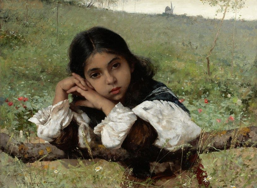 «Moments of Thoughtfulness», by Charles Sprague Pearce (1851–1914)