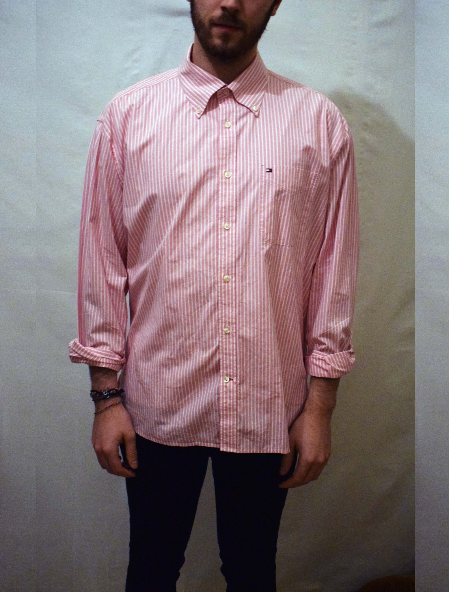 ff6d0a02ab Buttoned down smart Tommy Hilfiger shirt, with pink and white stripes. A  timeless collection