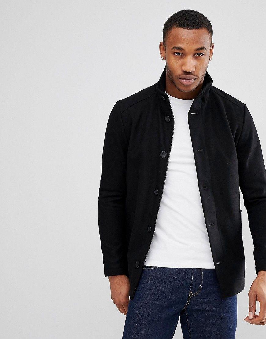 Jack Jones Funnel Neck Wool Blend Jacket Black Jackets Fall Jackets Funnel Neck
