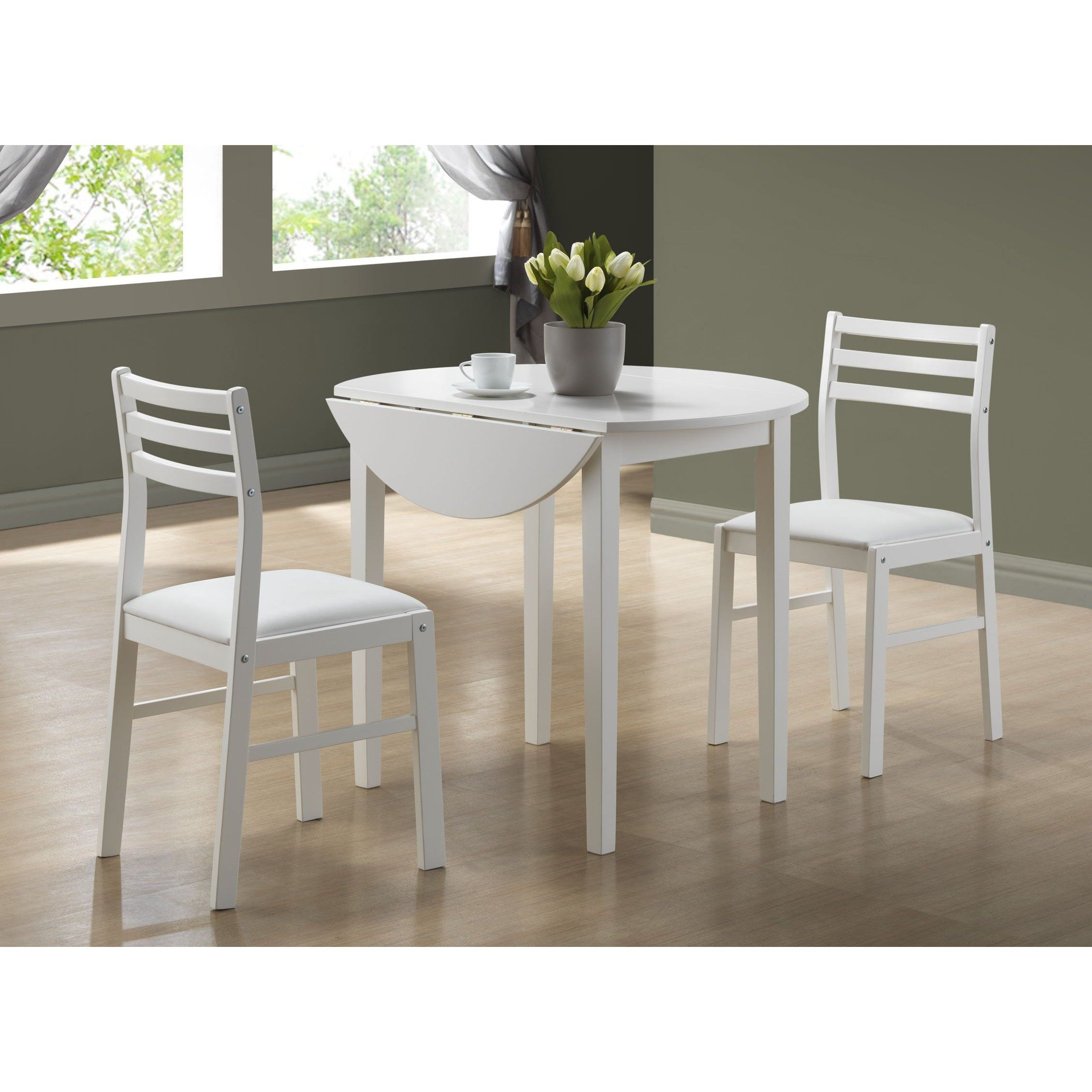 Delightful Monarch Specialties   White 3 Piece Dining Set With A 36 Inch Dia Drop Leaf  Table   I 1008   Home Depot Canada