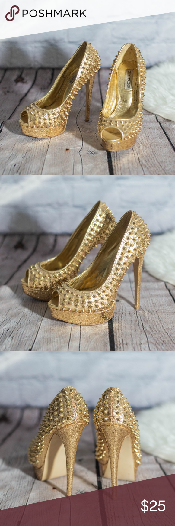 Steve Madden Lorie sparkly gold spikey heels Steve Madden Lorie heels. Size 7.5, runs small, fits more like a 7.   Gold studded spikes on a gold glitter background.   Peep toe  Gold metallic pumps  Perfect for bachelorette parties or birthdays! Steve Madden Shoes Heels #goldglitterbackground