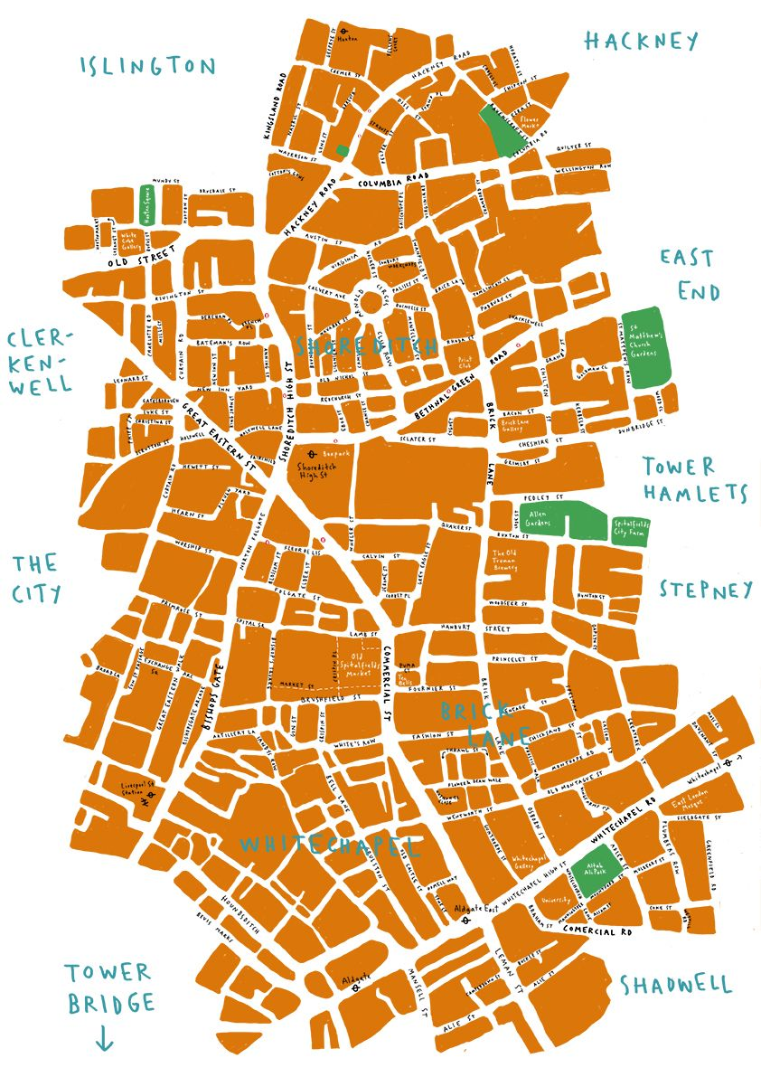 Brick Lane Map Simple but still got that nice hand drawn feel | Get Out Your  Brick Lane Map