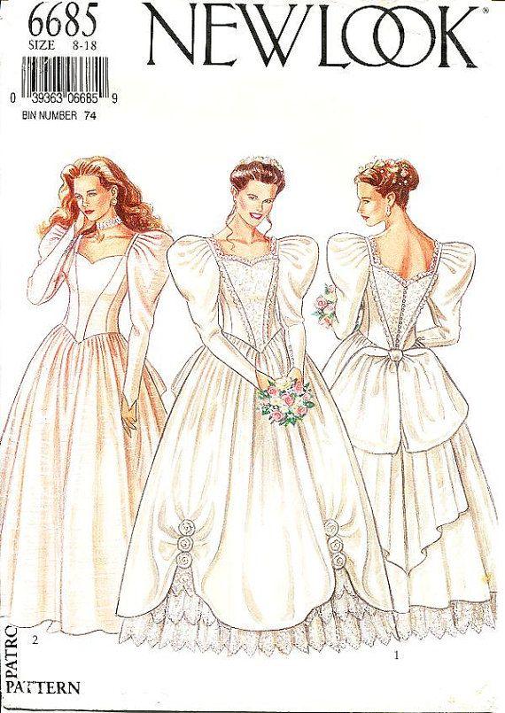 Sz 8/10/12/14/16/18 - New Look Wedding Dress Pattern 6685 - Misses ...