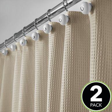 Mdesign X Long Cotton Waffle Weave Fabric Shower Curtain 72 X 96
