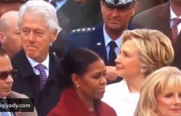 """اخبار اليمن : شاهد بالفيديو .. رد فعل هيلاري الغاضبة على نظرات زوجها بيل كلينتون لإبنة """"ترامب """"!"""