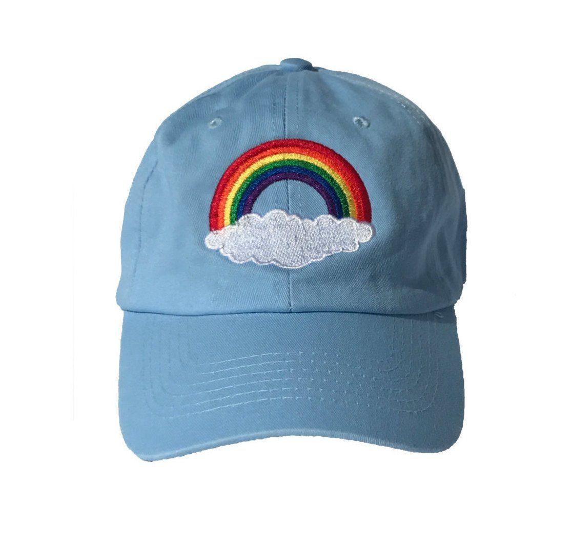 0caef2b951e49 Wear this rainbow baseball cap with pride! Each hat is embroidered