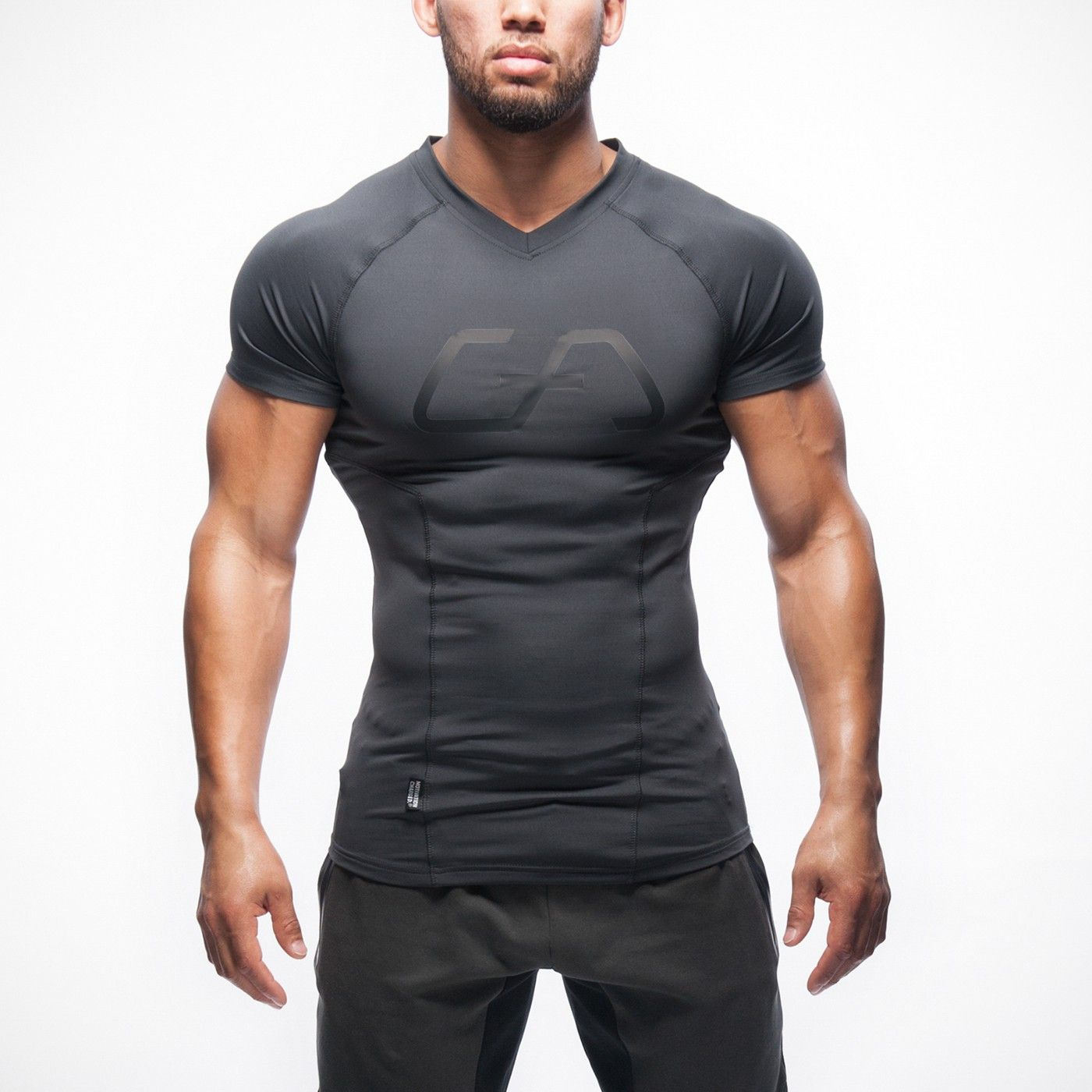 Long muscle fit t shirt anthrazit gym aesthetics Fitness shirts for men