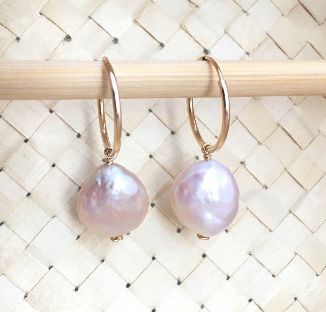 Freshwater Coin Pearl 14mm Lustrious Light Pink Wire Wrapped Dangle ...