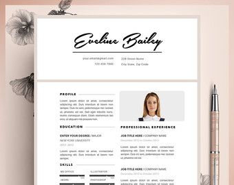 Resume Template Cv Template Editable In Ms Word And Pages Instant Digital Download Size A4 And Us Letter Modele De Cv Professionnel Modele Cv Cv Professionnel