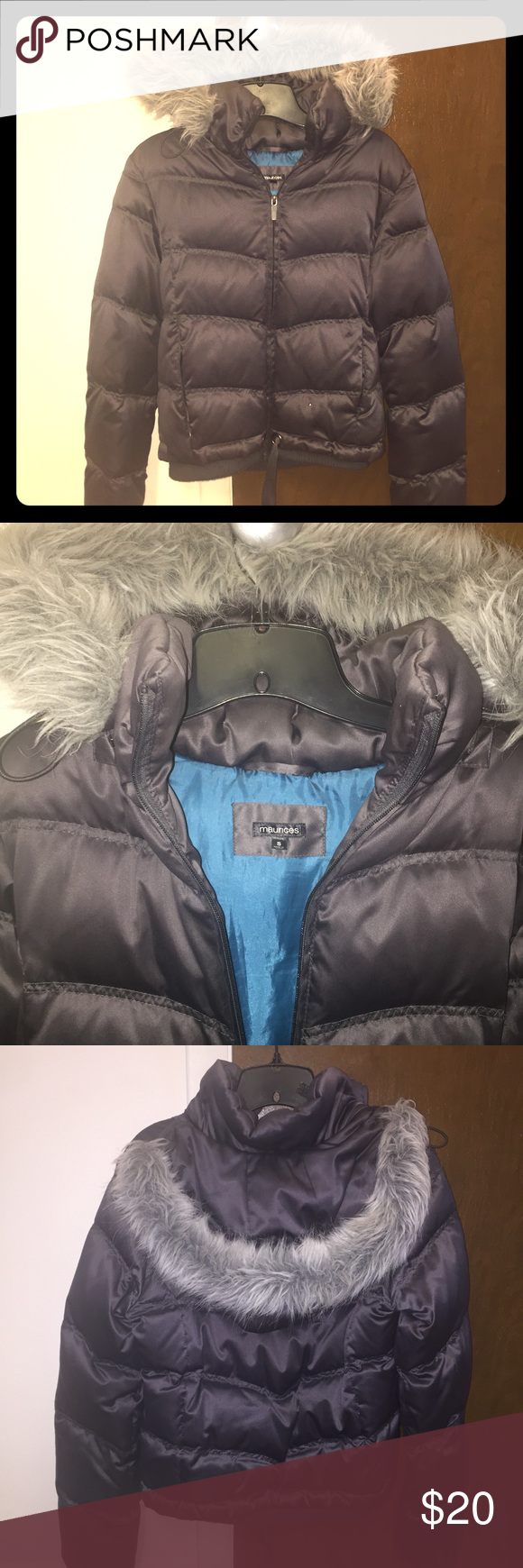 Maurice's Coat W/ Fur-Lined Hood Dark gray puff winter coat with fitted waistband and drawstrings, fur-lined removable hood, two side zip pockets on outside on hidden pocket on inside. This coat is in excellent condition! The body is 100% polyester. Maurices Jackets & Coats Puffers
