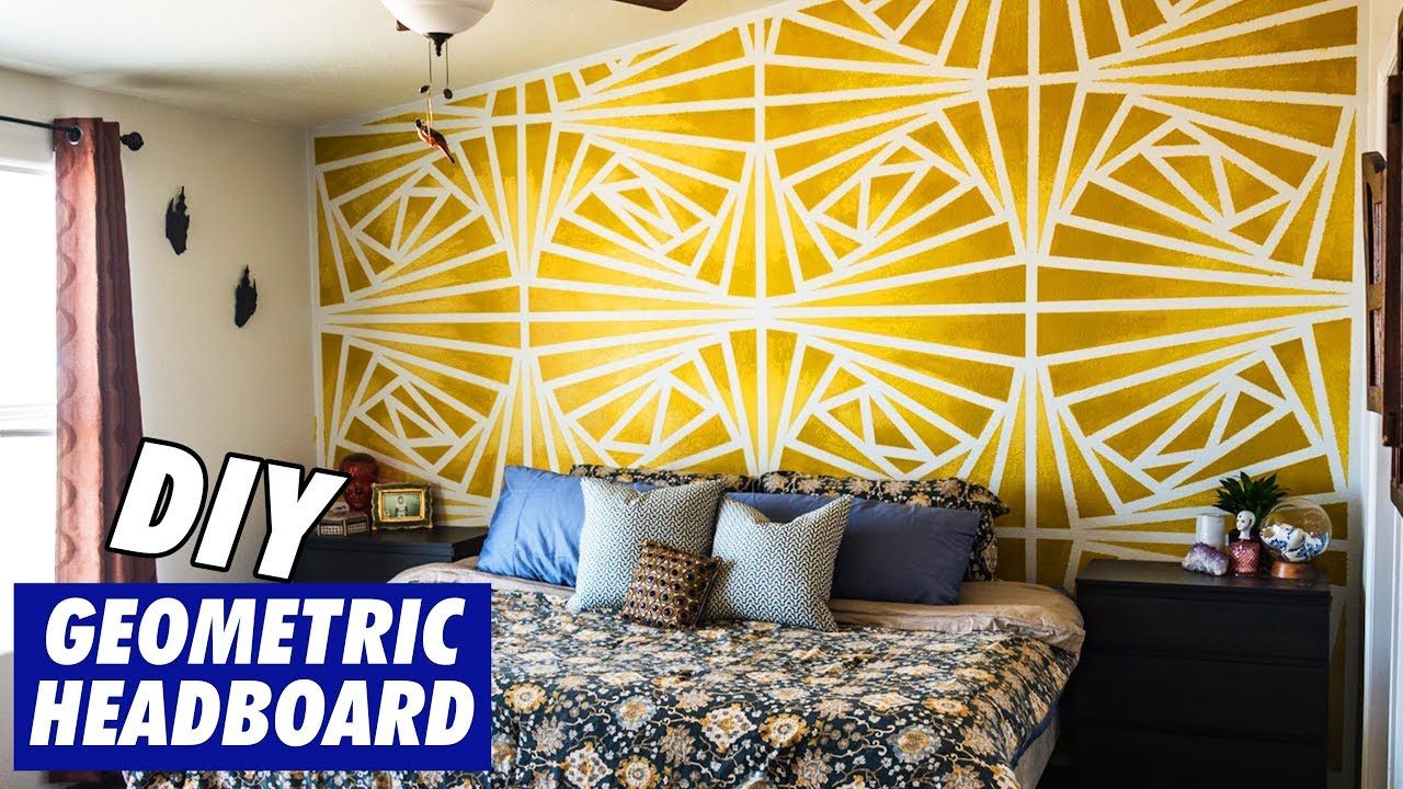 Diy Geometric Headboard Painting Youtube Geometric Wall Paint Wall Paint Designs Geometric Wall