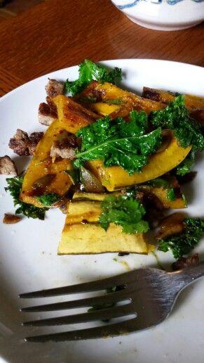 Kale, delicatta squash, pepita and sausage sauté