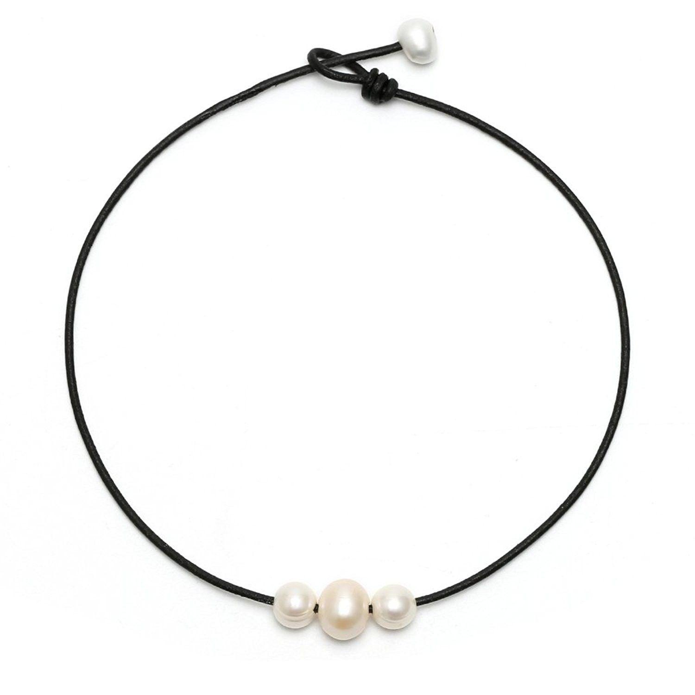 "17.7"" Black Handmade 3 Pearl Choker Necklace Beads on"