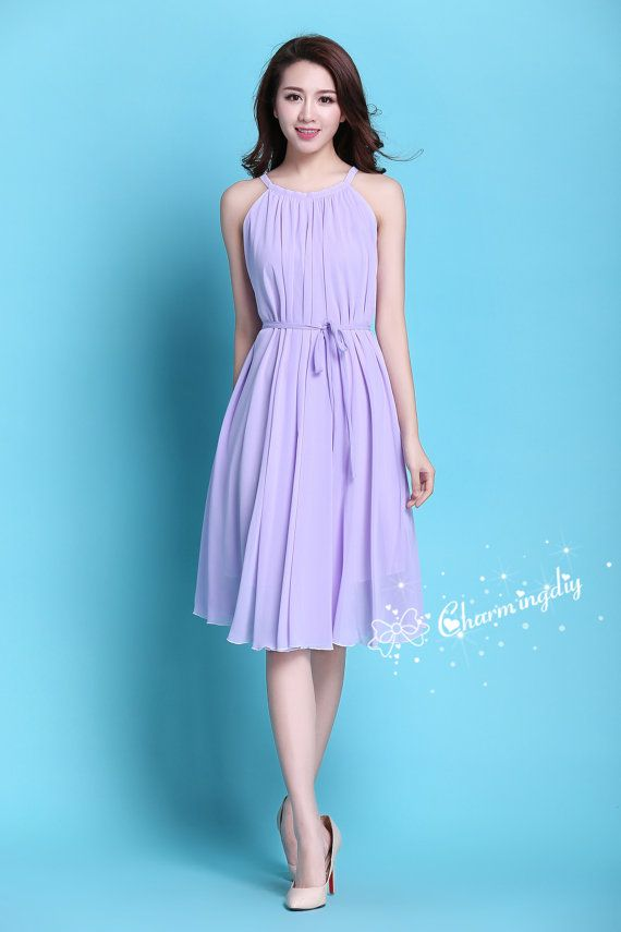 60 Colors Chiffon Light Purple Knee Skirt Party Dress Evening ...