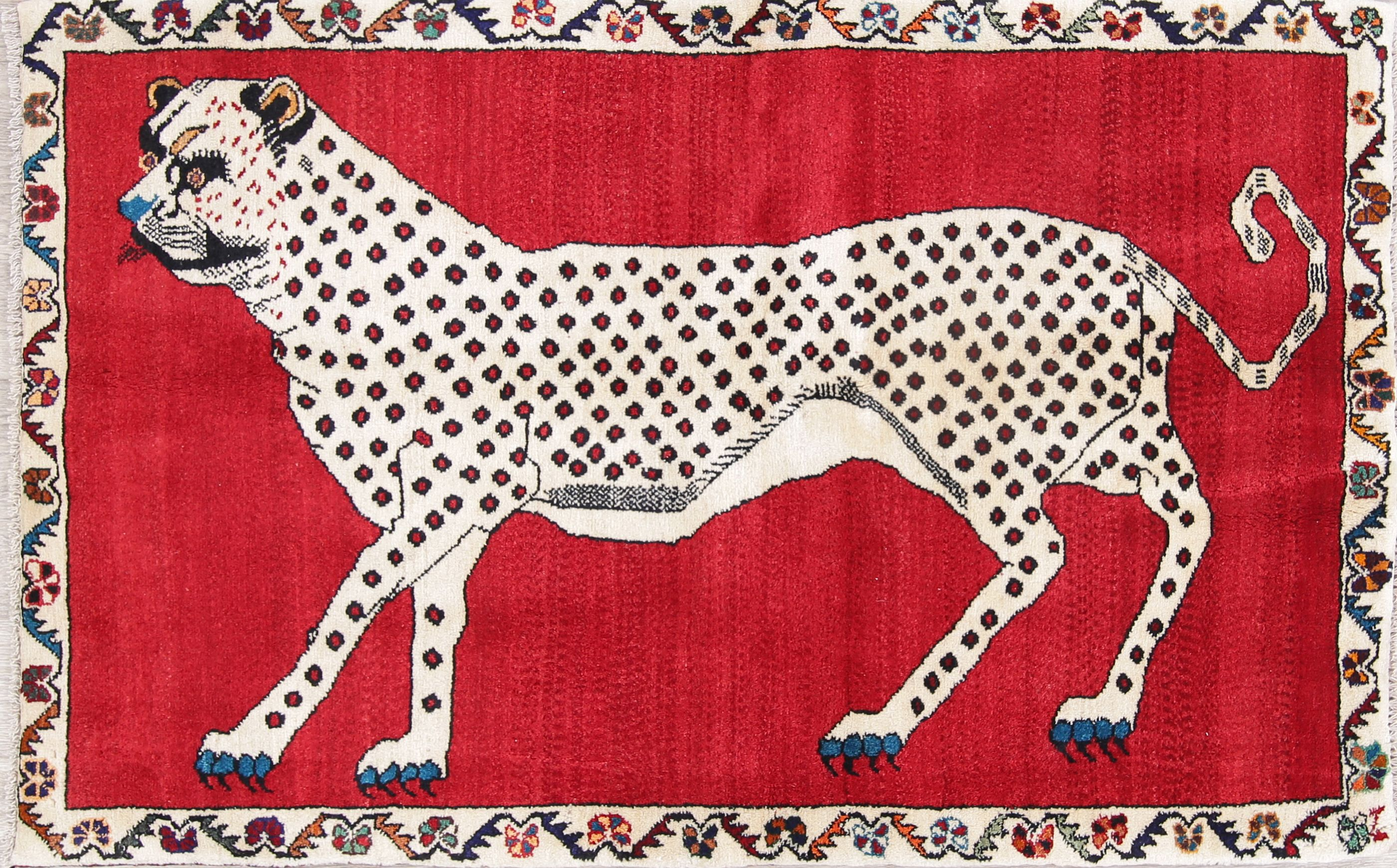 Animal Pictorial Cheetah Qashqai Persian Hand Knotted 3x5 Wool Rug Animals Wool Rug Animal Paintings