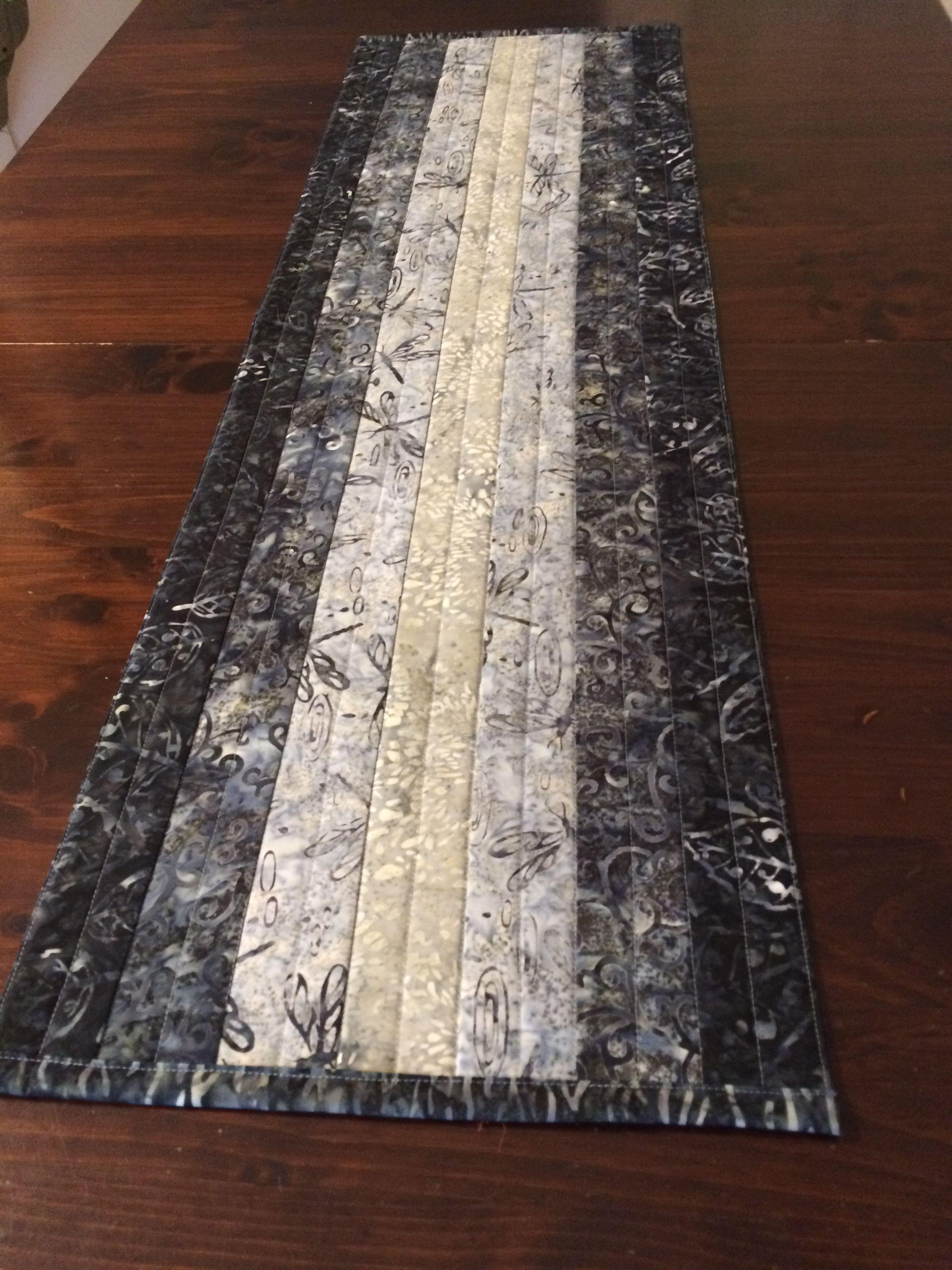 Gray /& Teal Batik Table or Bed Runner Handmade Reversible Table Quilt Quilted Batik Tablerunner Moroccan Motif Tablerunner Dining Decor