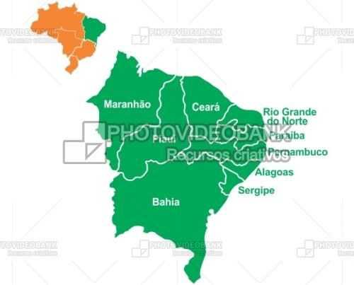 Brazil northeast region map and states PHOTOVIDEOBANK Maps