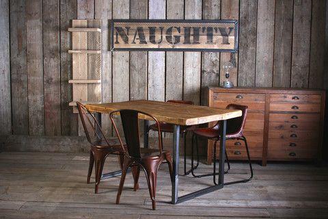 VINTAGE INDUSTRIAL RUSTIC RECLAIMED PLANK TOP DINING TABLE (HANDMADE UK)