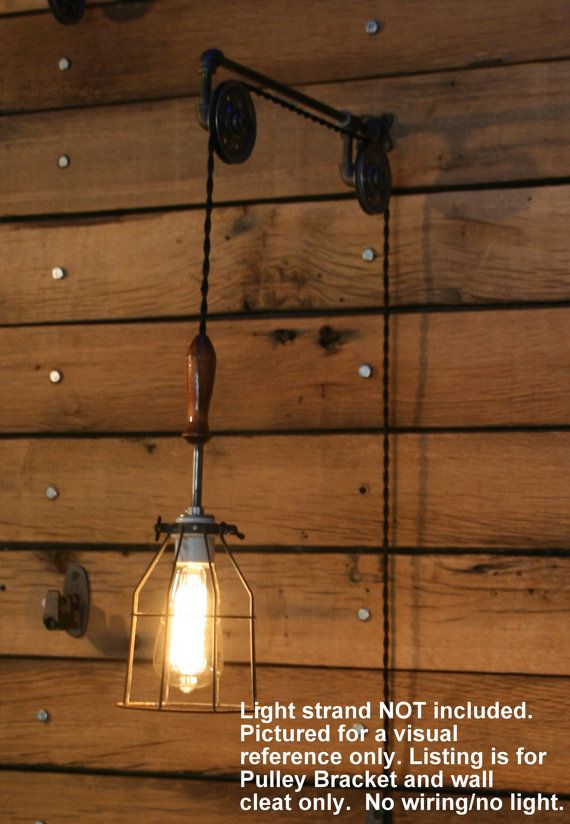 Industrial Pulley Wall Sconce For Your Trouble By Industrialrewind Cage Light Pulley Wall Light Industrial Cage Light