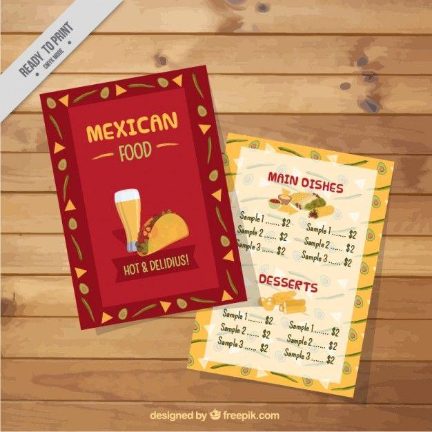 Mexican menu template with drawings Free Vector Freepik