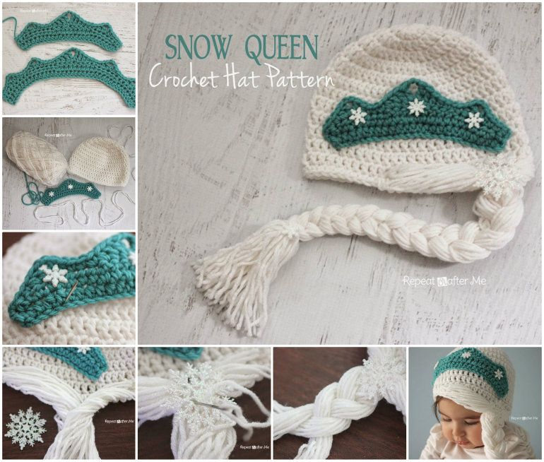 DIY Crochet Snow Queen Hat with Free Pattern #queenshats