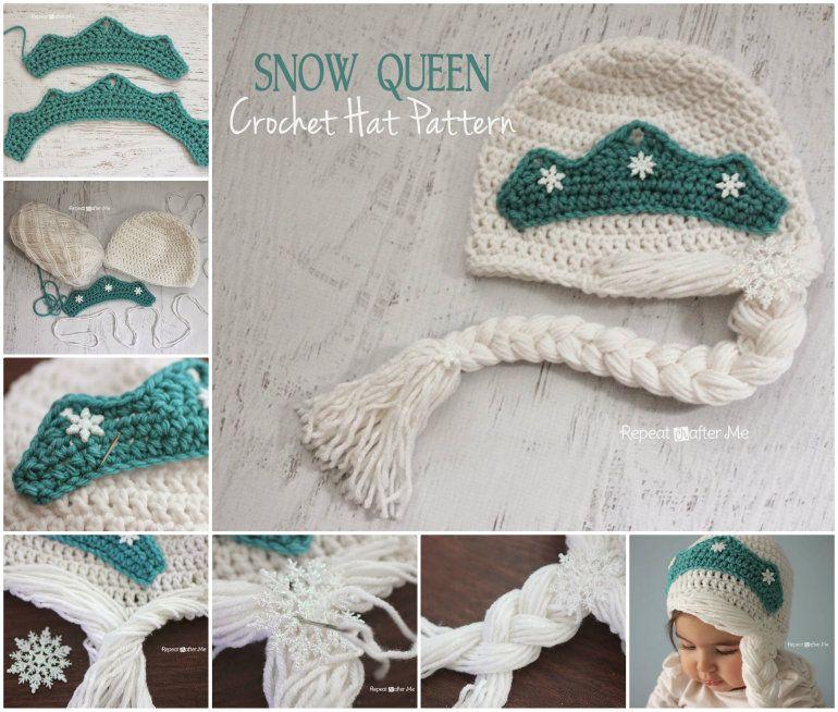 Crochet Frozen Snow Queen Hat | Crochet❤ | Pinterest
