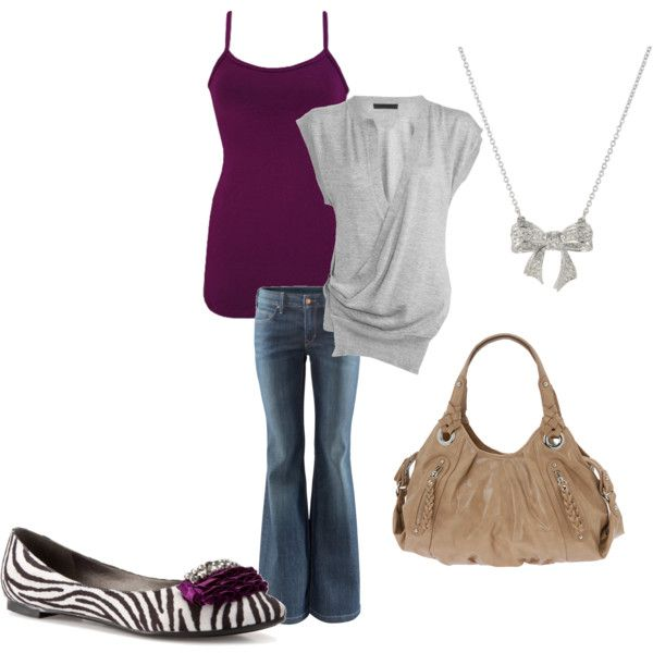 by rikkihjelden on Polyvore. Its purple! i love the color and the bow necklace and the cardigan