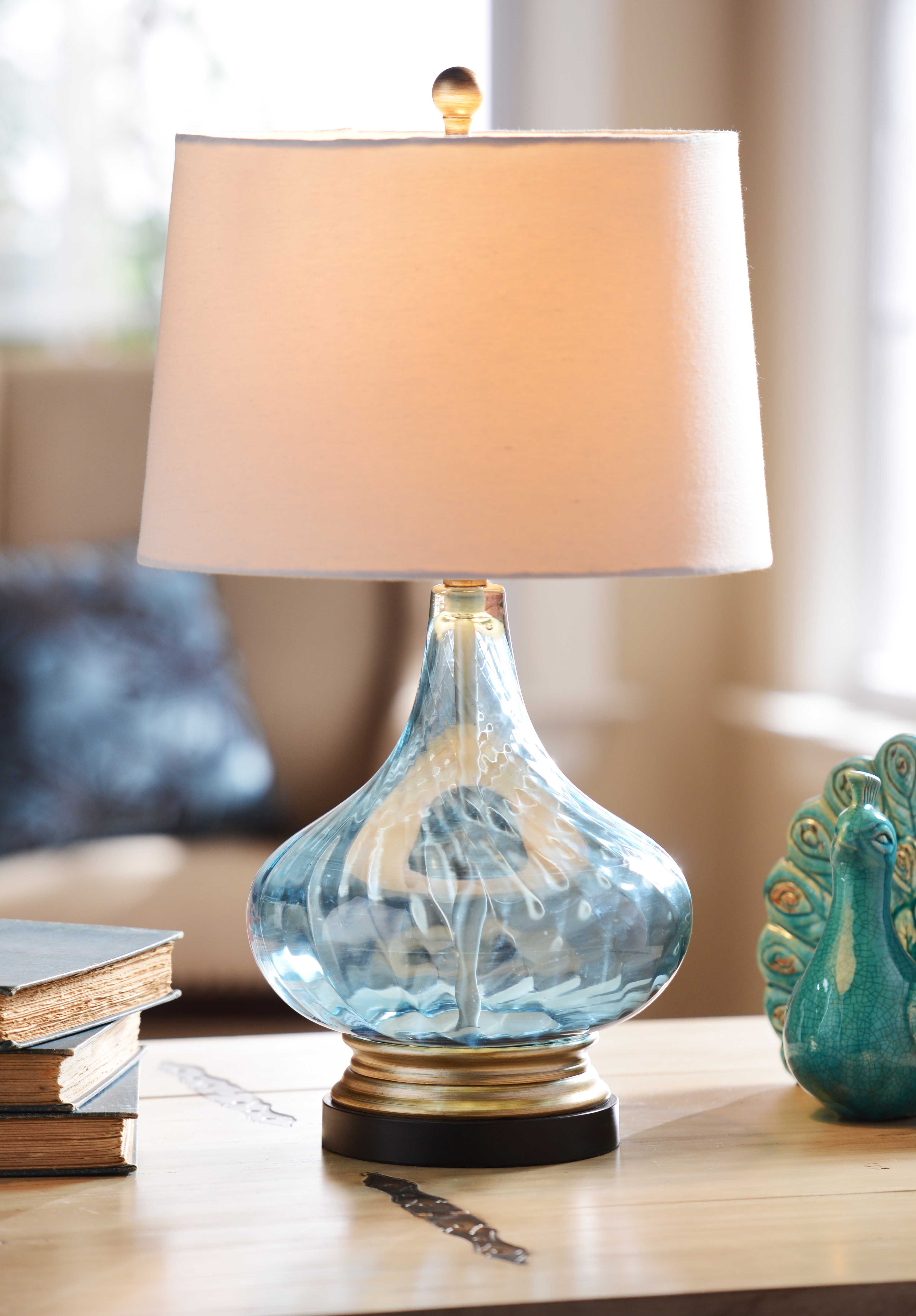 Blue glass table lamps  Peacock Blue Table Lamp  Peacock blue and Peacocks