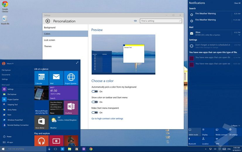 Windows 10 How to control transparency in the Start menu