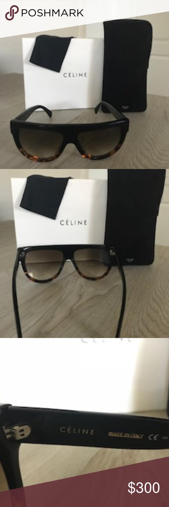 64186a7fa3d Celine Shadow Cl 41026 S Flat Top Sunglasses Celine Style  Fashion Color   Black Havana Tortoise Lens  Brown Gradient Lens Gender  Women Size  58-16-150 ...
