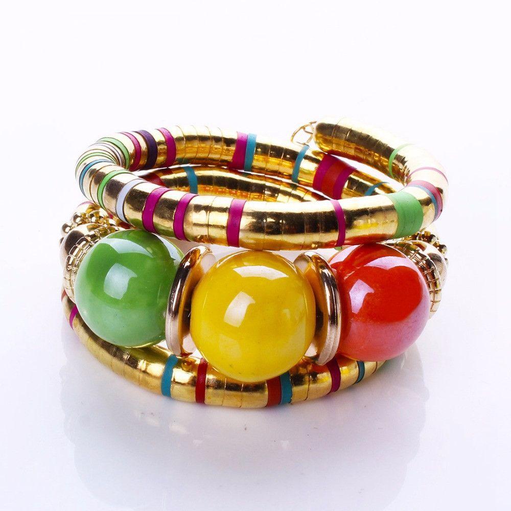 Fashion bracelets bangles for women resin alloy tibetan silver