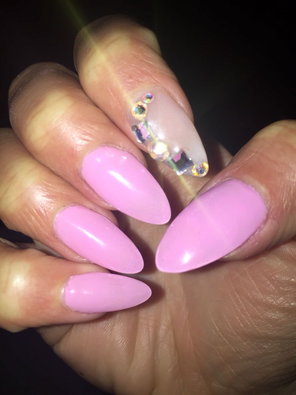 Almond shaped baby pink nails with diamond stones! By Eva Austin ...