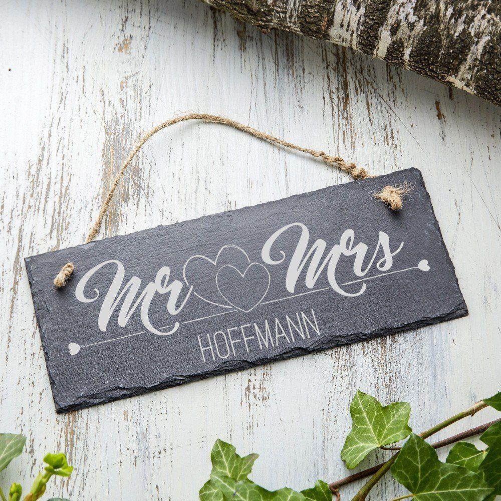 Schiefertafel mit Gravur – Mr & Mrs – Schieferplatte personalisiert