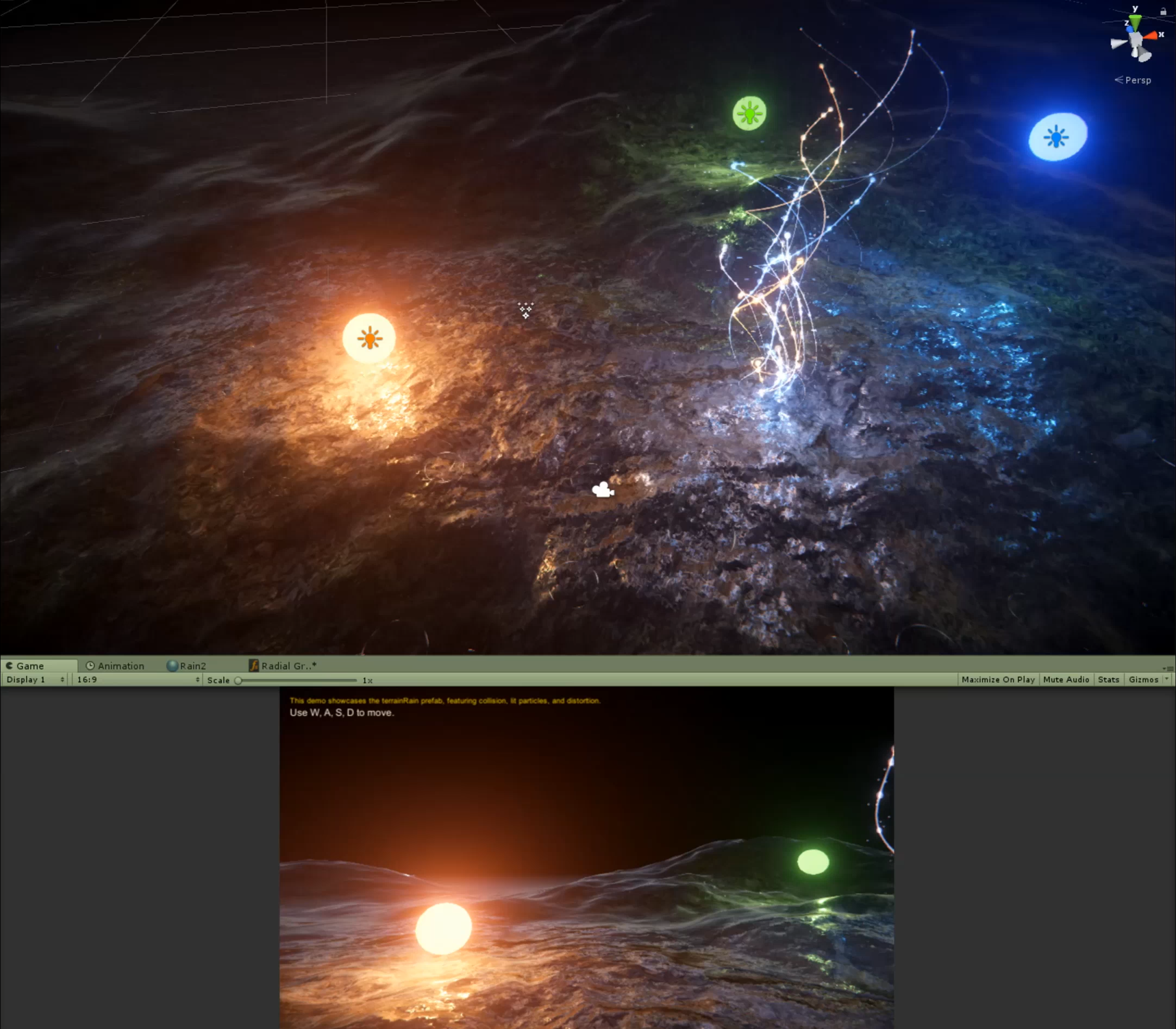 Lit Rain Particles w/Distortion and Collision Wet Terrain Shader