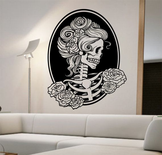 Day of the dead girl Vinyl Wall Decal Sticker Art Decor Bedroom Design Mural sugar skull home decor art street art awesome