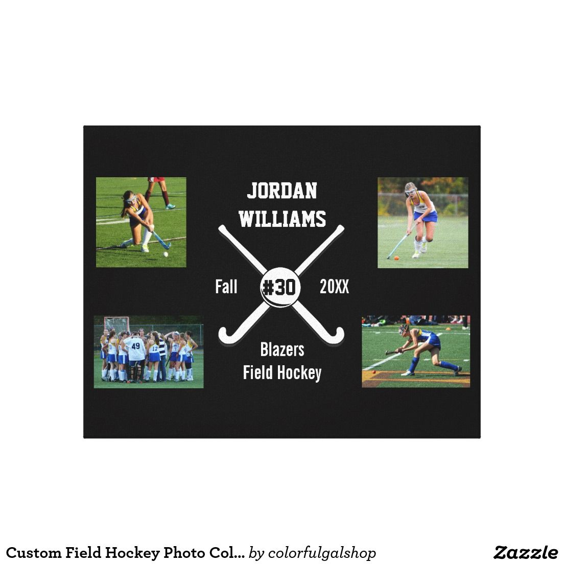 Custom Field Hockey Photo Collage Name Team Number Canvas Print