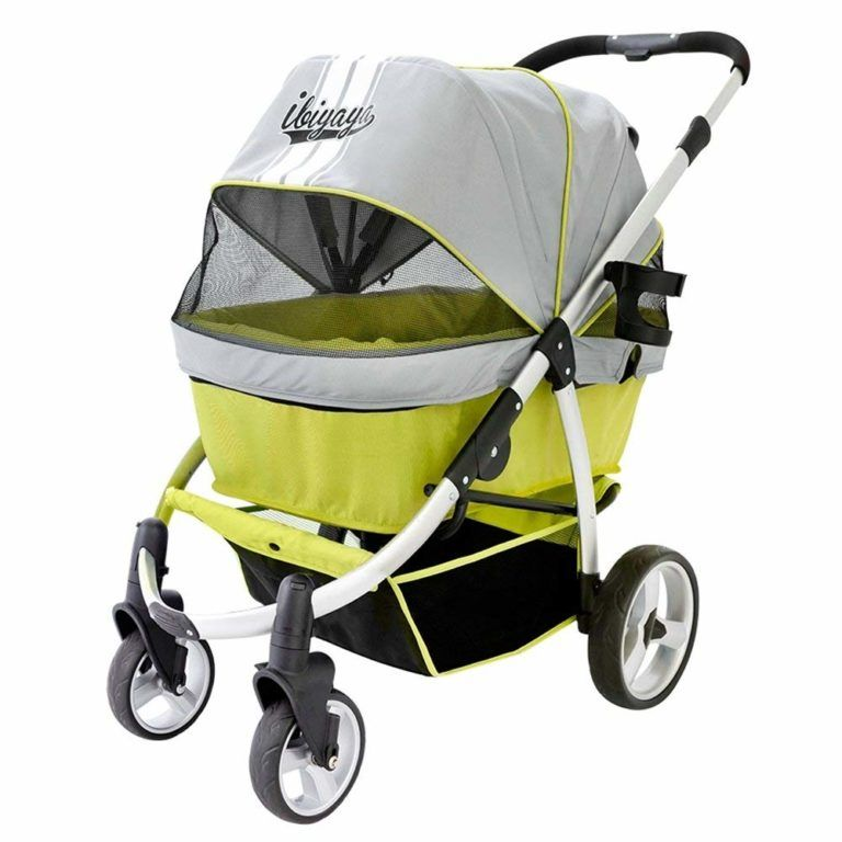 Ibiyaya Double Dog Stroller for Large Dogs, 4Wheel with