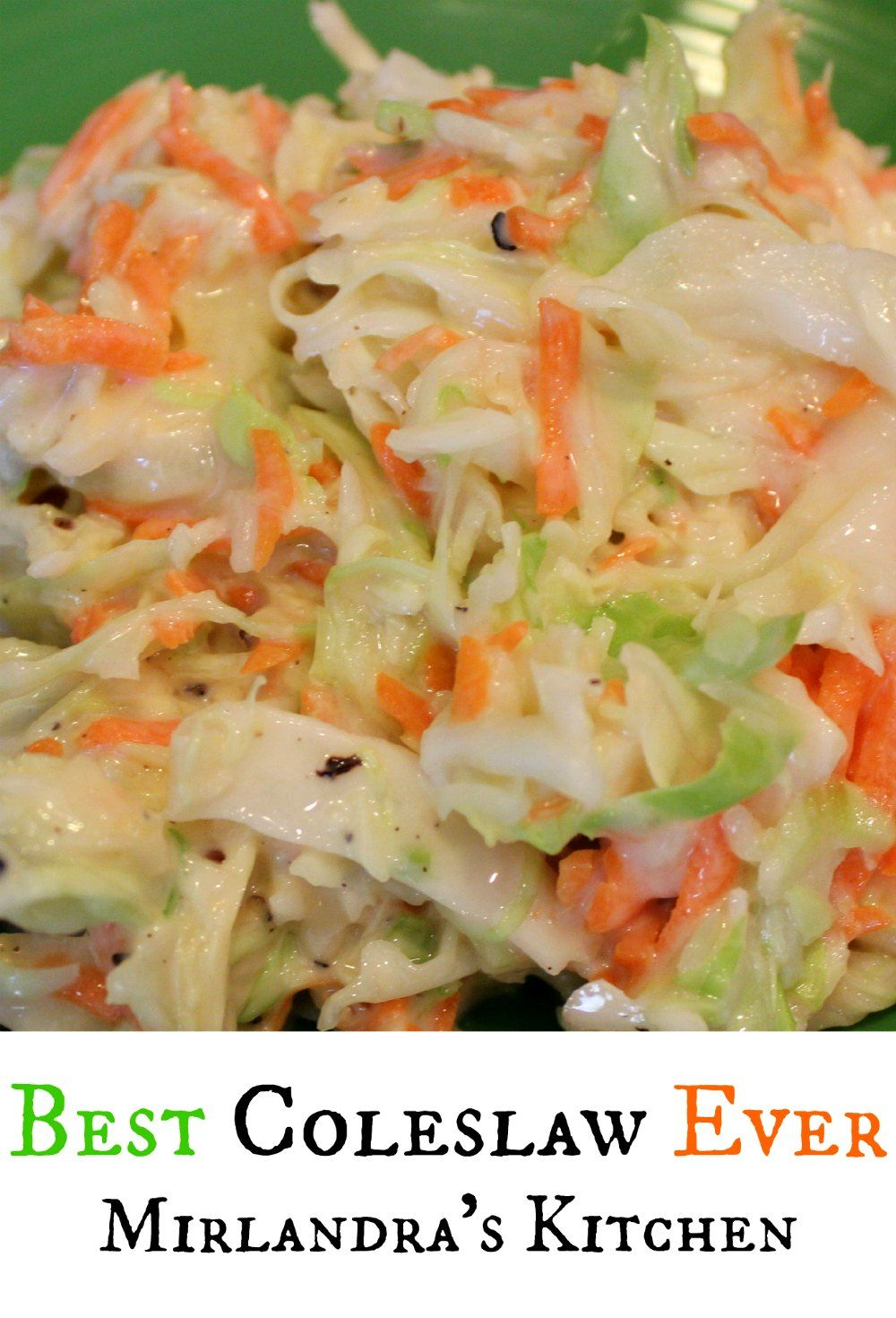 Quite simply the best coleslaw ever.  This recipe is flavorful, sweet and tangy but not heavy or gooey.  While not a true KFC copycat it has the same sweet flavor as KFC does which is what makes this one such a hit.  We love this with pulled pork, fish tacos, BBQ, and all those summer picnics and parties.  It is the all time most popular recipe on the blog!