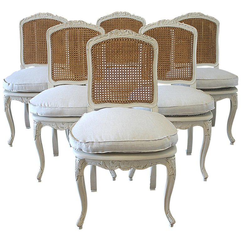Set Of 6 French Country Louis Xv Style Cane Back Dining Chairs Side Chairs Dining Dining Chairs Painted Dining Chairs