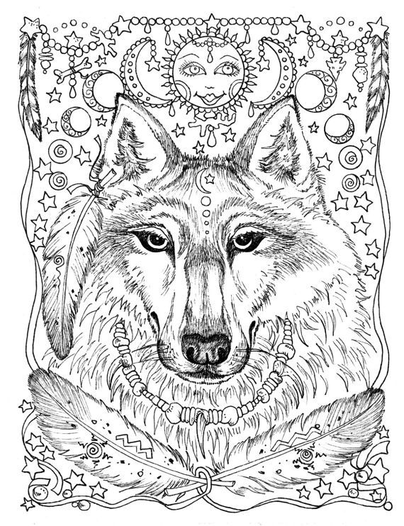 5 Pages Instant Download Animal Spirits To Color Wolf Raven Etsy Animal Coloring Books Animal Coloring Pages Horse Coloring Pages