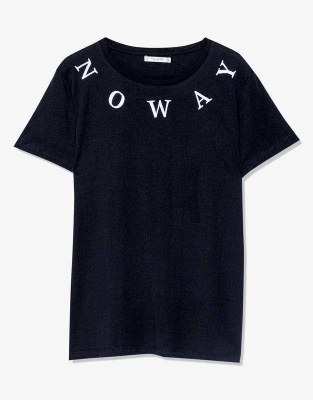Aufgesticktem Schriftzug Shirt Kleidung Mit Damen T Shirts UwRq508Eq