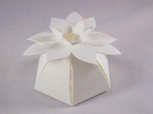 100 X Ivory Flower Top Wedding Favour Boxes Amazoncouk Kitchen