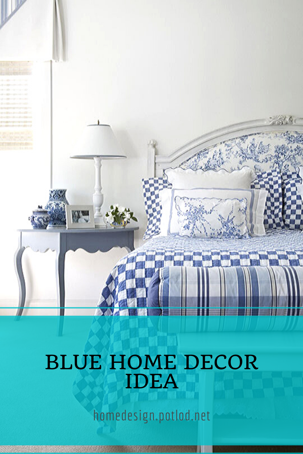 Looking for home Decor Inspiration? 💙 Layers of Blues in patterns and prints throughout this white kitchen open concept design. Located in Windermere, FL #FloridaInteriors #TownhomeLiving #bluedecor