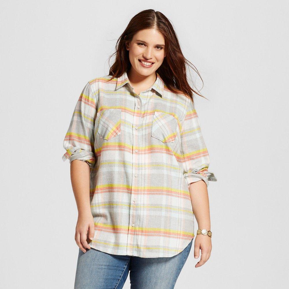 Plus size flannel shirt dress  Womenus Plus Size Plaid Flannel Favorite Shirt Heather Grey X